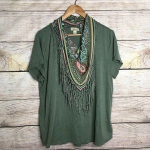 One world green short sleeve tee with scarf
